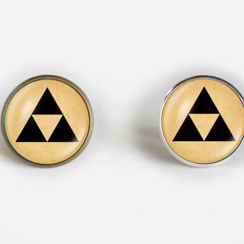 Triforce Studs - Legend of Zelda Earrings , stud, post earrings, black and whit, Triforce gift for her buy 3 get 4th one free