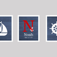 Monogram Set with Nautical Theme, Navy Red White CUSTOM COLORS 8x10 Prints Set of 3, Navy Wood, nursery decor print art baby kids room decor