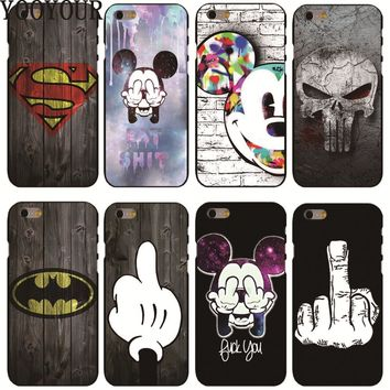 Yooyour Cute Cartoon Pattern Cover hard plastic Cover Case For Apple iphoneX 8  8PLUS 4 4s 5 5s  5c SE 6 6S 6PLUS 7 7PLUS