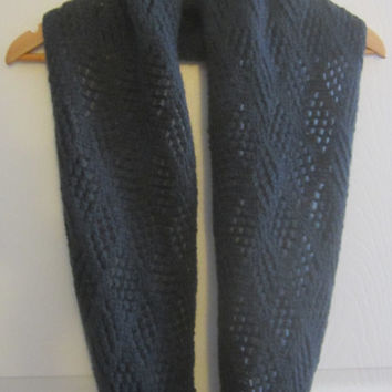 Wool Infinity Scarf - Hand Knit - Winter Scarf - Made in Canada - Dark Grey Scarf - Loop Scarf - Soft - Warm - Lacy - Knitted - Canadian
