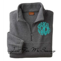 Monogrammed Fleece PulloverHalfzip pullover by JustForMeSewing