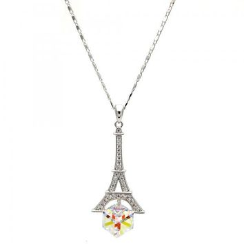 Gold Layered Fancy Necklace, Eiffel Tower Design, with Swarovski Crystals and Micro Pave, Rhodium Tone
