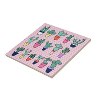Pink Cacti Illustration Backsplash Tile