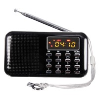 ELEGIANT Black Mini Portable LCD Digital FM Radio Speaker USB Micro SD TF Card Mp3 Music Player