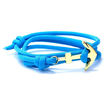 The Gold Anchor Bracelet in Turquoise