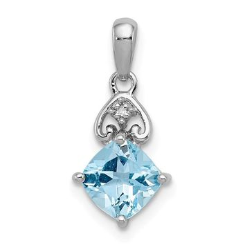 Sterling Silver Diamond And Light Swiss Blue Topaz Cushion Pendant