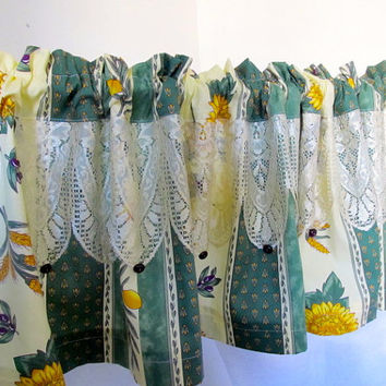 French Kitchen Valance, Provence Lace Curtain, Olive & Sunflower Yellow Curtain
