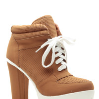 Chesnut Faux Nubuck Lace Up Tennis Platform  Booties