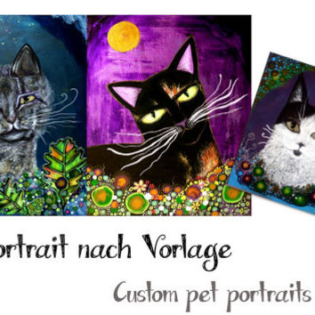 Custom Pet Portrait Cat, Cat portrait painting on wood