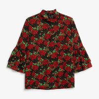 Trumpet sleeved blouse - Roses are red - Tops - Monki GB