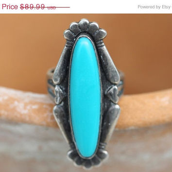 Sale Maisel's Silver & Turquoise Ring Navajo Sterling Vintage