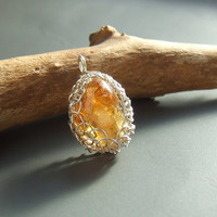 Citrine pendant, yellow merchants stone pendant, november birthstone sterling silver necklace