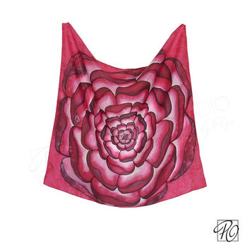 Square Silk Scarf Pink, Bandana Scarf, Neckerchief, Small Scarf Hand Painted, Neck Scarf Silk. Mandala Magenta. Gift For Her. READY TO SHIP
