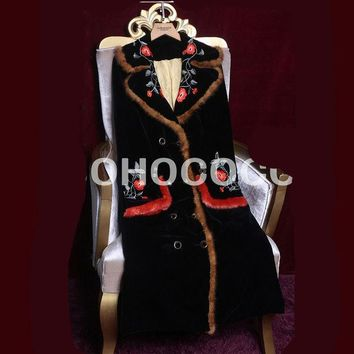 ESBU3C Europe and United States Winter Fashion Velvet Embroidery Long Thin Coat Cotton Clothes