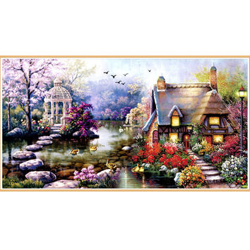 YGS-32 DIY Diamond Mosaic Landscapes Garden lodge Full Diamond Painting Cross Stitch Kits Diamonds Embroidery Home Decoration zx