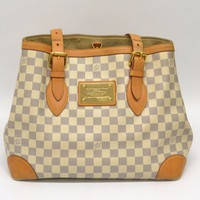 Authentic Louis Vuitton Hampstead MM Damier Azur Canvas Tote Shoulder Bag White