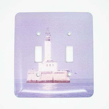 Gray's Reef Michigan Lighthouse Design Light Switchplate, Flawed, Photograph