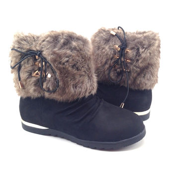 Black Suede Women's Boot with Faux Fur Trim