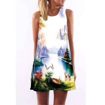 Printed Sleeveless Round Collar Amazon Hot Sale Dress