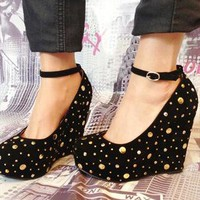 Gold Stud & Diamante Gem Black Suede Wedge Sandal Shoes from APPRAISED