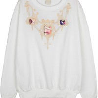 Skull Embroidered Sweatshirt