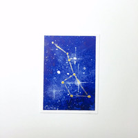 Original ACEO, Big Dipper Constellation Acrylic Painting, Artist Trading Card