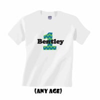 Personalized First Birthday Shirt.  Chevron print blue and green.