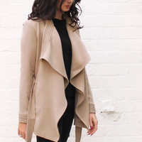 Short Waterfall Drape Belted Flo Throw On Jacket in Camel