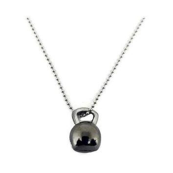 Kettlebell Necklace - Black Stained