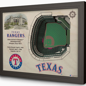 MLB Texas Rangers Baseball 3D Stadium View Wall Art Globe Life Park in Arlington