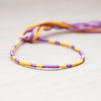Friendship Bracelet Yellow and Lilac Embroidery Threads Woven Bracelet Stocking Stuffer Gift for Sister