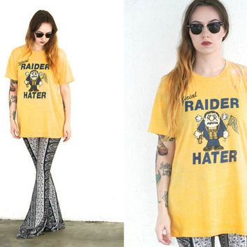 Vintage 80s CHARGERS San Diego Oakland RAIDERS T Shirt // Yellow California Footbal NFL Sport // Hipster Grunge // Small / Medium / Large