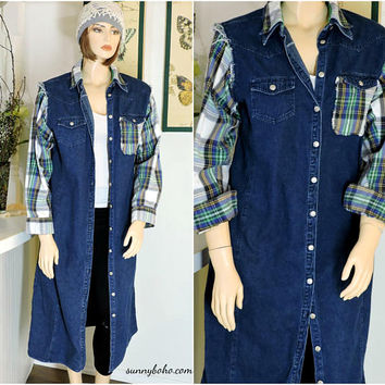 Upcycled denim duster coat / size L / XL / 14 / 16 / long jean coat / denim / flannel coat / boho grunge denim / flannel duster