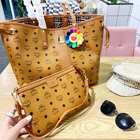 MCM Classic Popular Women Shopping Bag Leather Handbag Shoulder Bag Crossbody Satchel Two Piece Set(No Sunflower Pendant)