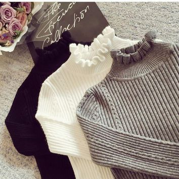 Cashmere Knit Women Sweater Pullover Ruffles Turtleneck Twist Wool Autumn Winter Long Sleeve Jumper Casual Sweater Tricot 1614