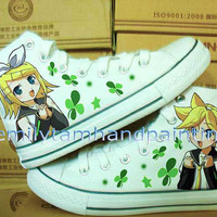 Vocaloid Converse Kagamine Rin and Len Custom Converse All Star Chuks-Hand Paint on Converes Sneakers Inspired from Vocaloid Anime