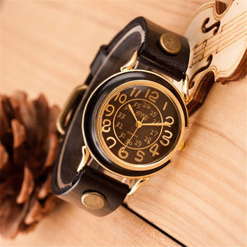 UNISEX FASHION VINTAGE WATCHES CASUAL LEATHER SPORTS WATCH GIFT 385