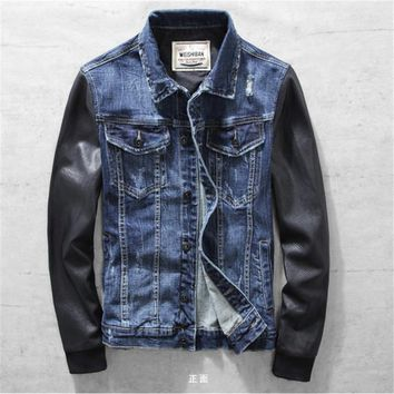 Men's Denim Jackets With Leather Sleeve Vintage Male Stitching Leather Outerwear Motorcycle Denim Jaqueta Jeans Masculina A1513