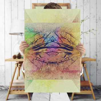 Psychedelic Abstract Tree Art Print - Rainbow Wall Art - Batik Art, Digital Download | Printable Bohemian Decor by Mila Tovar