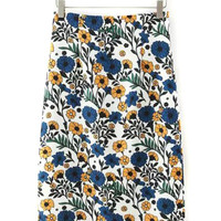 Multicolor High Waist Floral Back Split Pencil Skirt