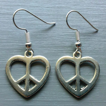 Silver Peace Heart Earrings