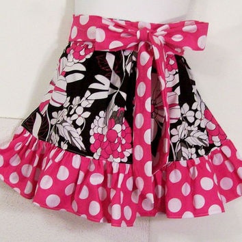 Girls Half Apron--Ruffled Pink and Black Dots and Florals