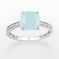 10k White Gold Aquamarine & Diamond Accent Ring
