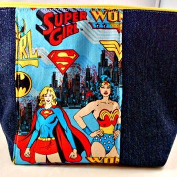 Girl Super hero makeup bag, wonder woman, super girl dc comic zippered purse, recycled denim jean bags, unique reclaimed fabric clutch