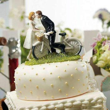 """A Kiss Above"" Bicycle Bride and Groom Couple Figurine (Pack of 1)"