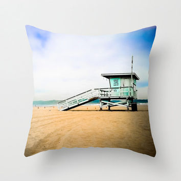 Beach Throw Pillow Cover, Surf Photography, Ocean Photography, Wave, California, Turquoise, Teal, Chair, Couch, Living Room, Home Decor