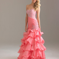 Pink Pleated Ruffled Beaded Organza Strapless Sweetheart Fitted Prom Gown - Unique Vintage - Cocktail, Pinup, Holiday & Prom Dresses.