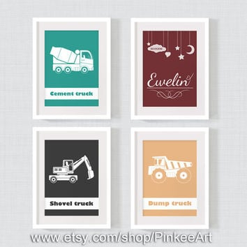 Boy room print, construction site nursery set, personalized children art, dump truck baby room decor, truck nursery, Set of 4, 13x18cm, 5x7