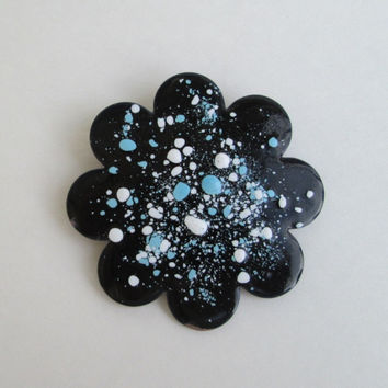 Large Scalloped Enamel on Copper Brooch Abstract Design Blue Black Vintage Jewelry