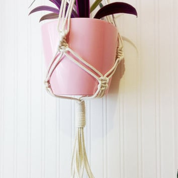 Macrame plant hanger- 100% cotton rope